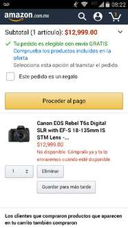 Amazon: Cámara Canon EOS Rebel T6s Digital SLR with EF-S 18-135mm IS STM Lens - Wi-Fi Enabled