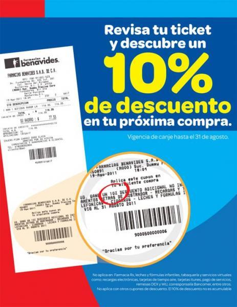 Farmacias Benavides: 10% de descuento en tu compra con ticket anterior