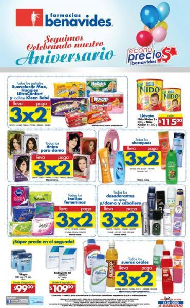Aniversario Farmacias Benavides: 3x2 en pañales, shampoos, toallas femeninas, tintes y más