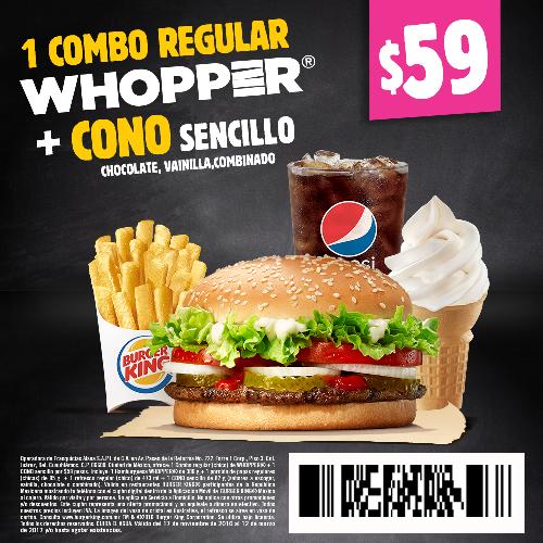 Burger King: combo Whopper + cono a $59