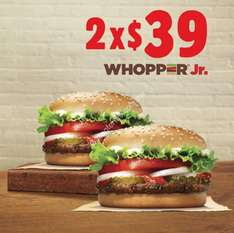 Burger King: 2 Whopper Jr por $39 pesos