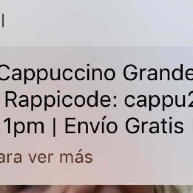 Rappi: Capuccino Starbucks a $20 + propina (envío gratis)