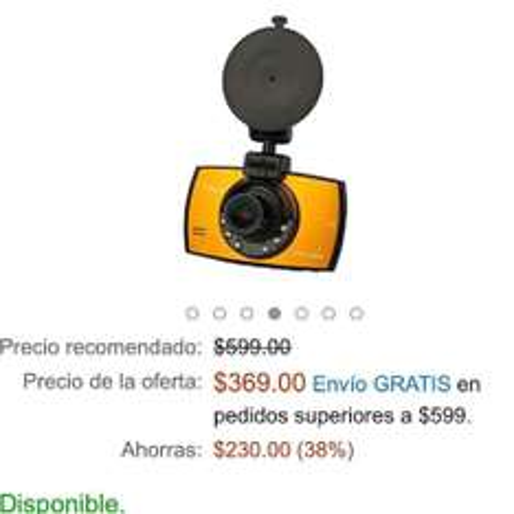 Amazon: Cámara HD para Vehículos  a $369