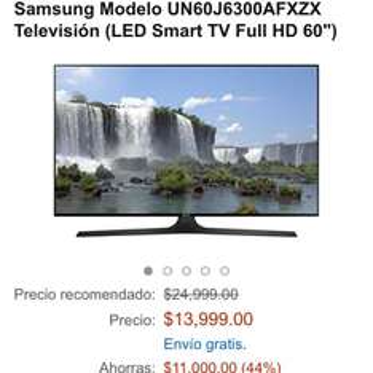 "Amazon: Samsung Smart tv 60"" 4K  UN60J6300AFXZX"