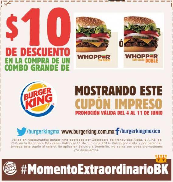 Burger King: $10 de descuento en combo Whopper