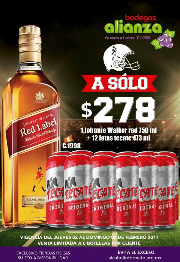 Bodegas Alianza: Red label + 12 Te categoría 473 ml por $278