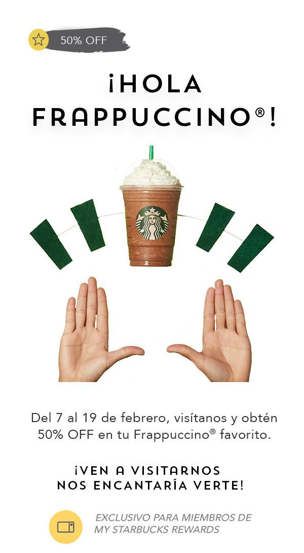 Starbucks: 50% OFF en Frappuccino del 7 al 13 de febrero (1 descuento por usuario My Starbucks Rewards seleccionado)
