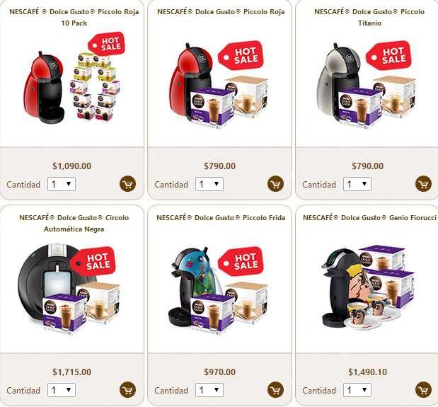 Ofertas de Hot Sale 2014: cafetera Dolce Gusto Piccolo + 10 cajas de cápsulas $1,090