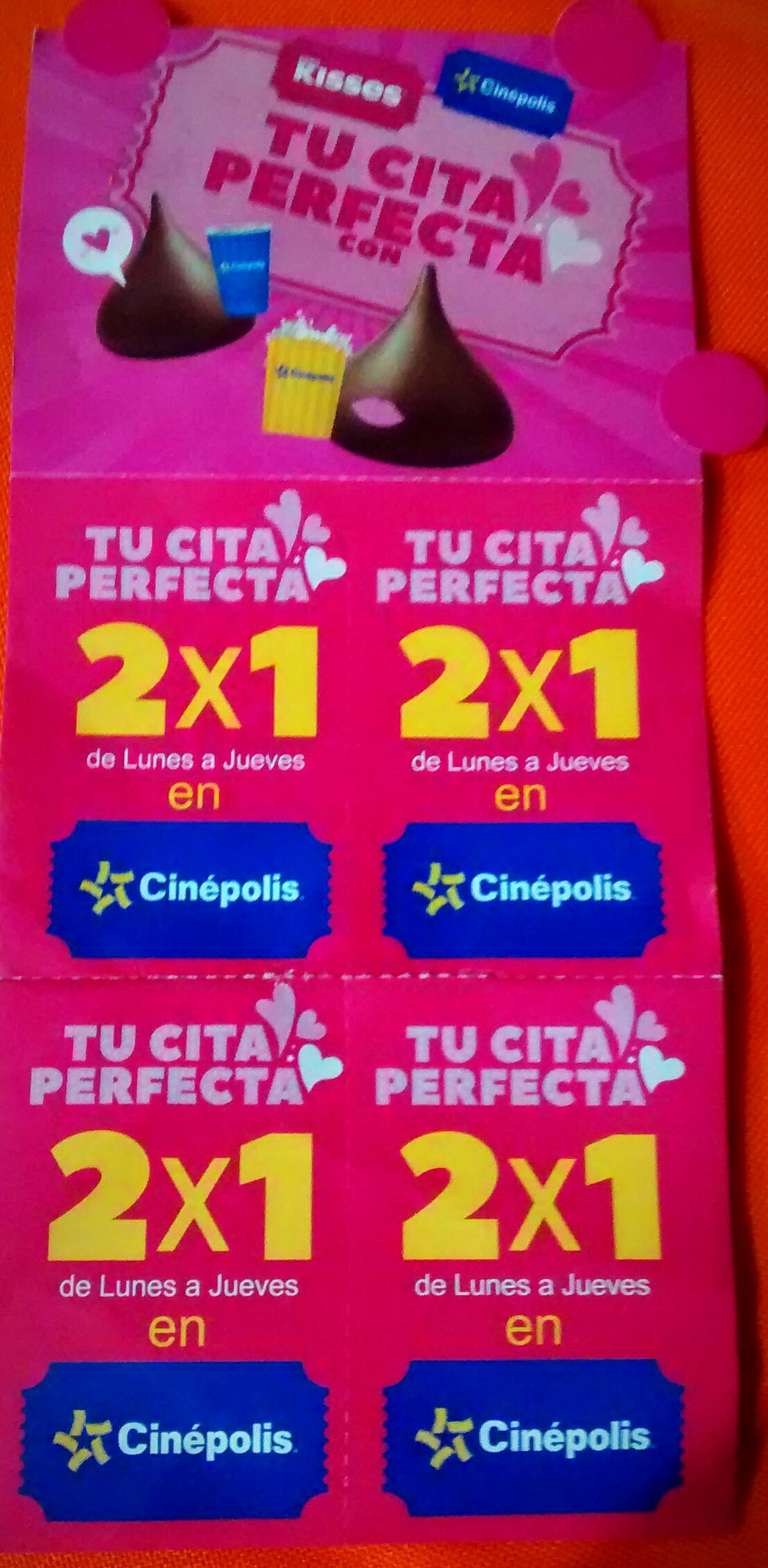 Cinépolis: 2x1 en boletos comprando Kisses