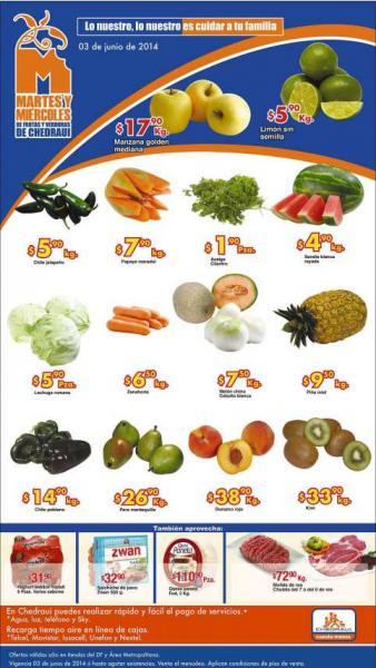 Ofertas de frutas y verduras en Chedraui 3 y 4 de junio