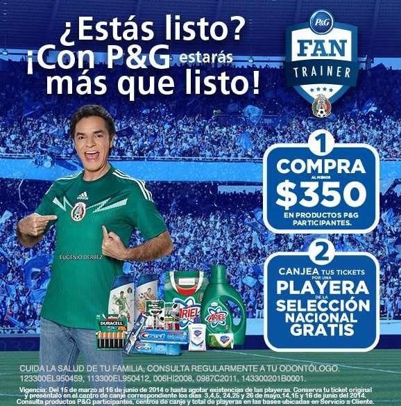 Playera de la selección gratis comprando $350 de productos P&G en Bodega Aurrerá