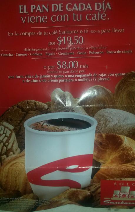Sanborns: Café Para llevar + Pan $19.50 o snack por $8 más