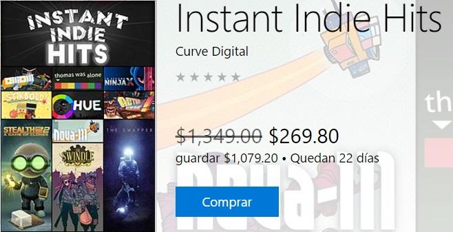 Microsoft Store: Instant Indie Hits para Xbox One (bundle de 10 juegos indie con 80% de descuento)