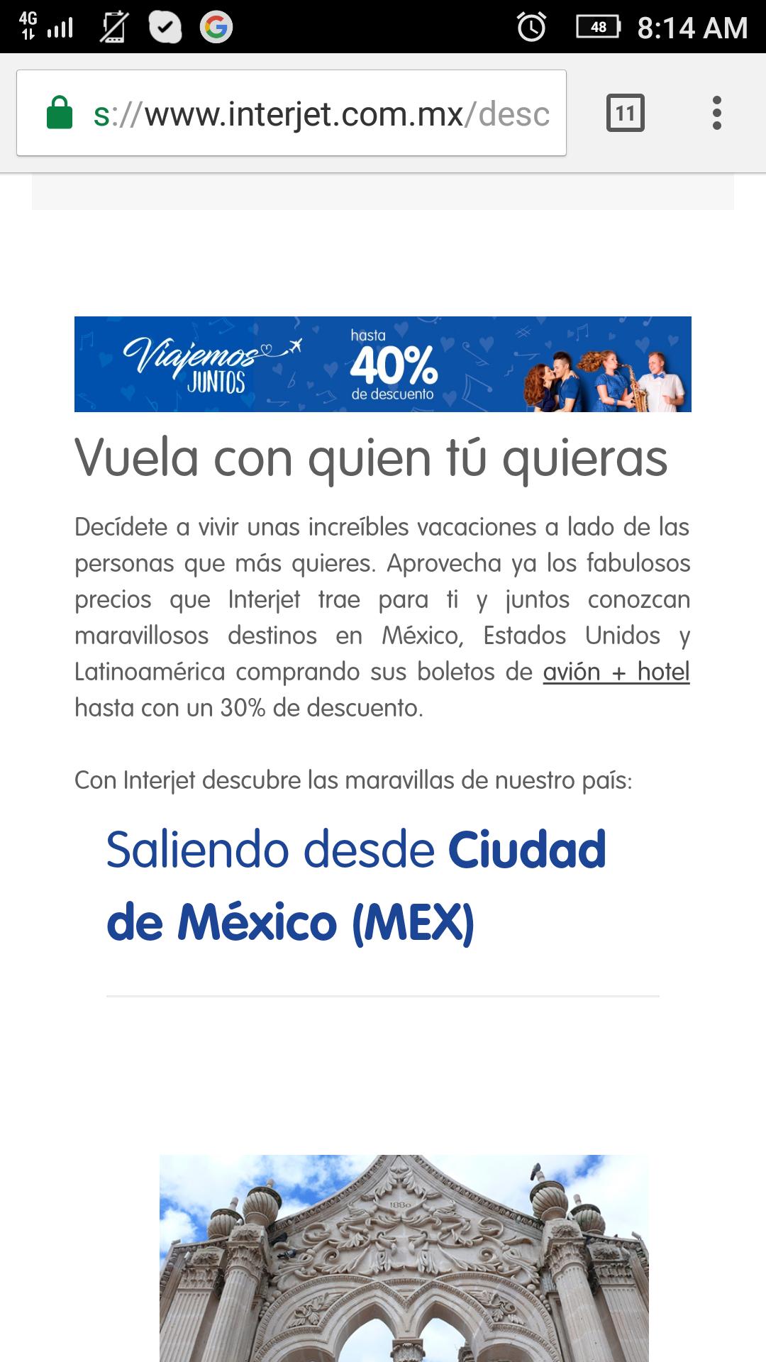 Interjet: Paquete de vuelo+hotel hasta 30% de descuento