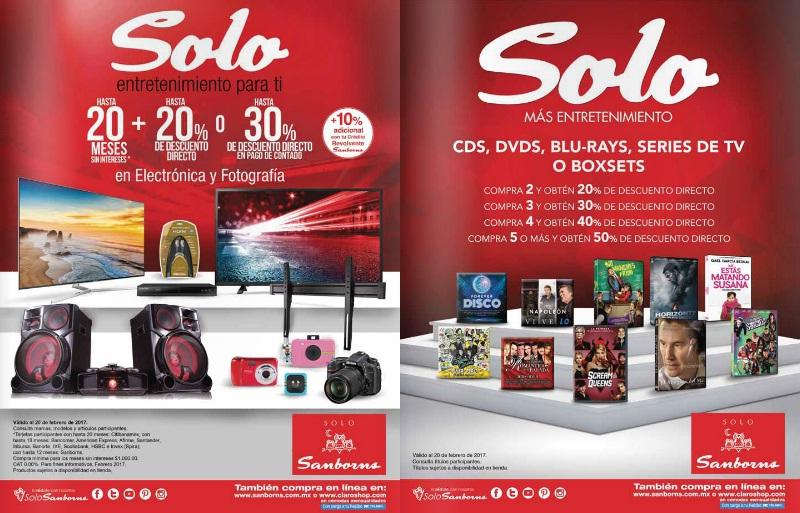 Sanborns: Hasta 20 MSI + hasta 20% de desc. directo ó hasta 30% de desc. directo de contado en electrónica y fotografía; descuentos escalonados en CDS, DVDS, BLU-RAYS, Series de TV o BoxSets