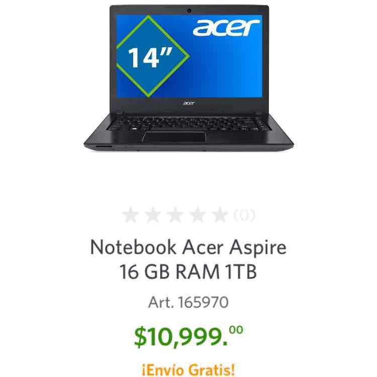 Sam's Club: Notebook Acer Aspire $10,999
