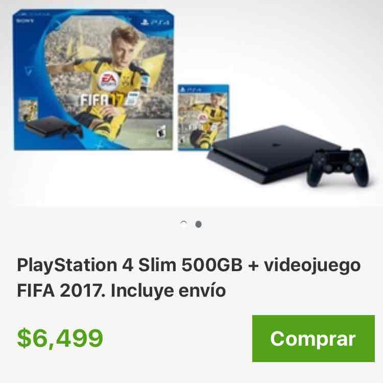 Groupon: PlayStation 4 Slim 500GB + videojuego FIFA 2017. Incluye envío