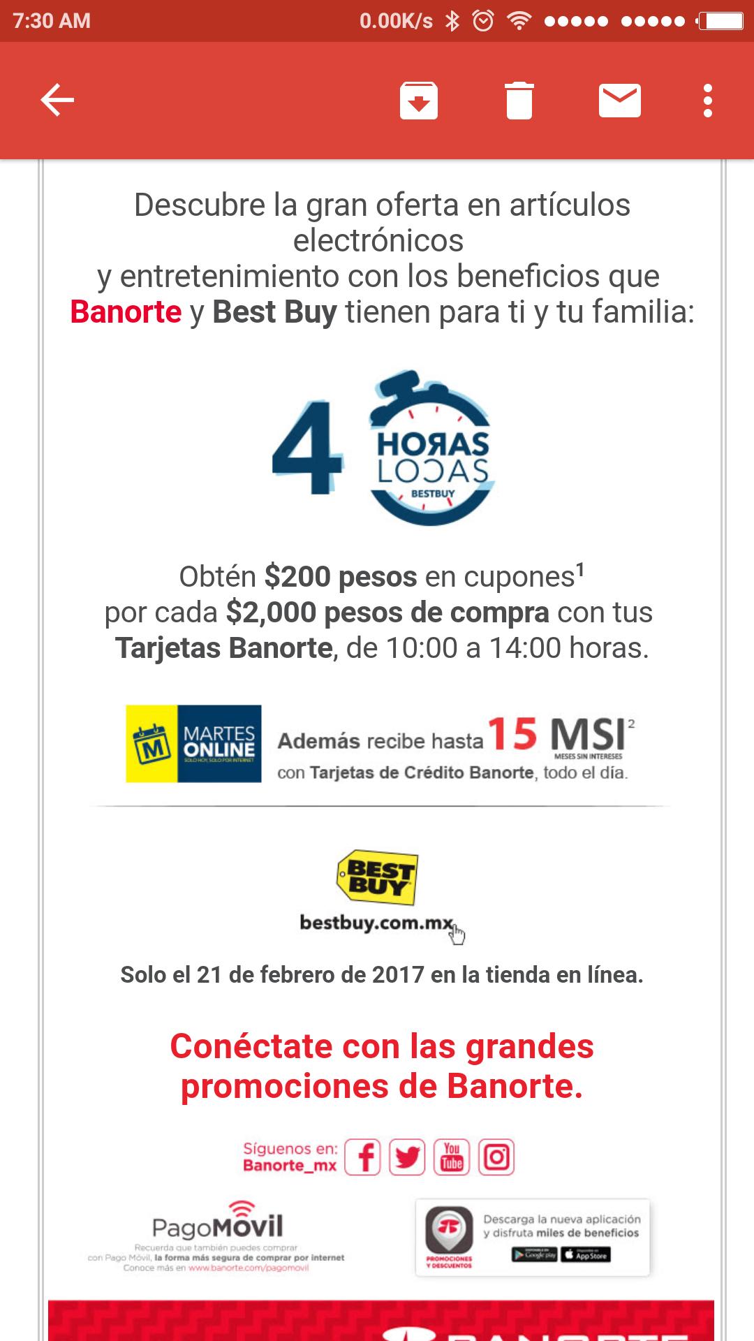 Best Buy y Banorte: 4 horas locas, $200 pesos en cupones por cada de $2,000 pesos de compra