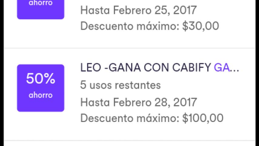Cabify León: 5 viajes 50% de descuento. (TODOS los usuarios) descuento máximo $100