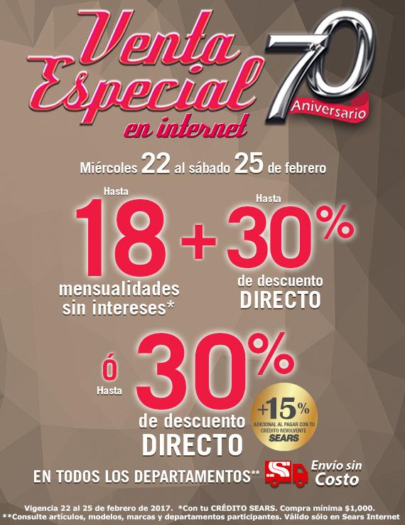 Sears: Venta Especial 70 aniversario 18 MSI + hasta 30% ó 30% + 15% de Desc. con Credito Sears