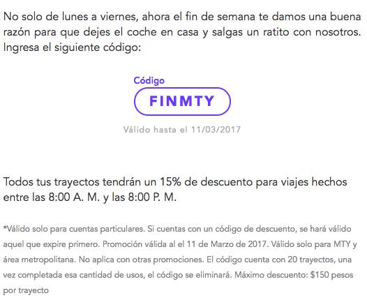 Cabify Mty: 15% de descuento en 20 trayectos para tus fines (máximo $150)
