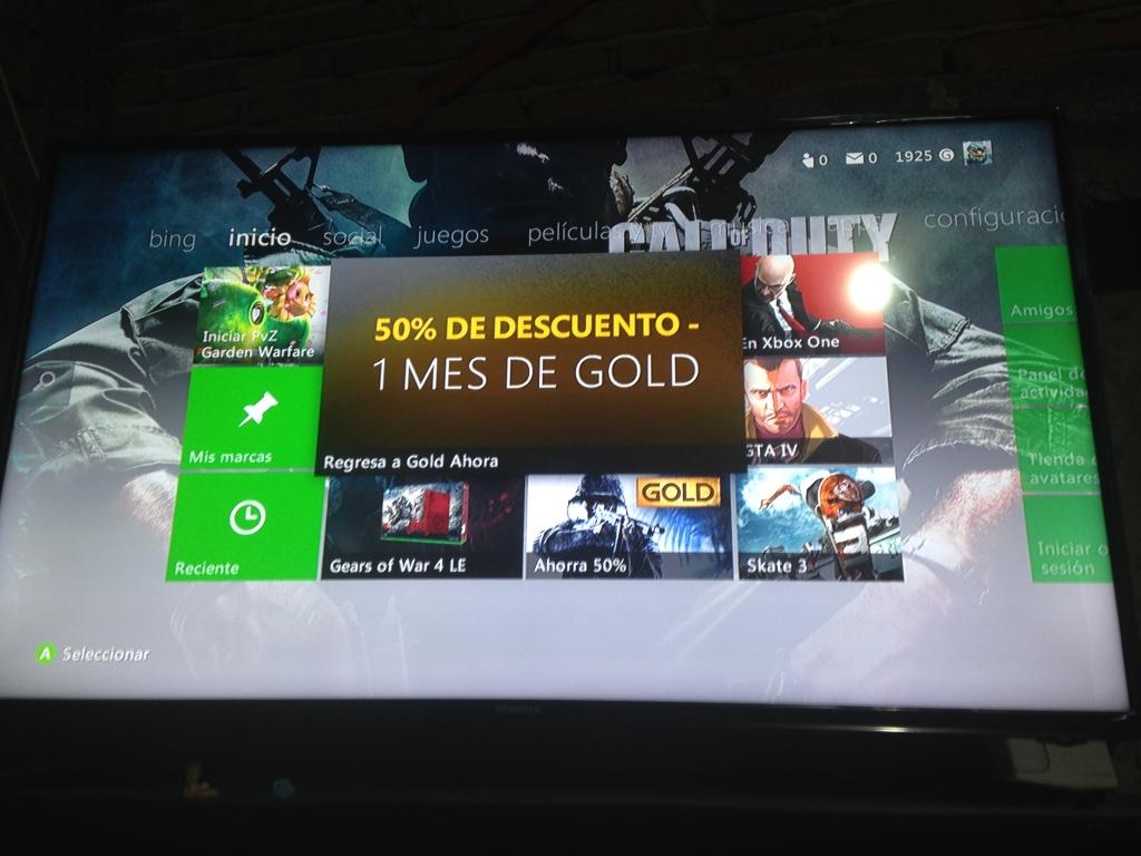 Xbox Live: Mes de Gold con 50% de descuento