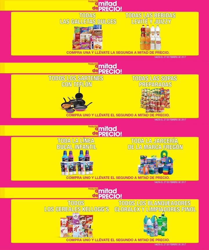La Comer: 2 x 1½ en galletas dulces; bebidas Levité y Juizzy; sartenes con teflón; sopas preparadas; bucal infantil; jarciería Fregón; cereales Kellogg's; blanqueadores Cloralex y limpiadores Pinol