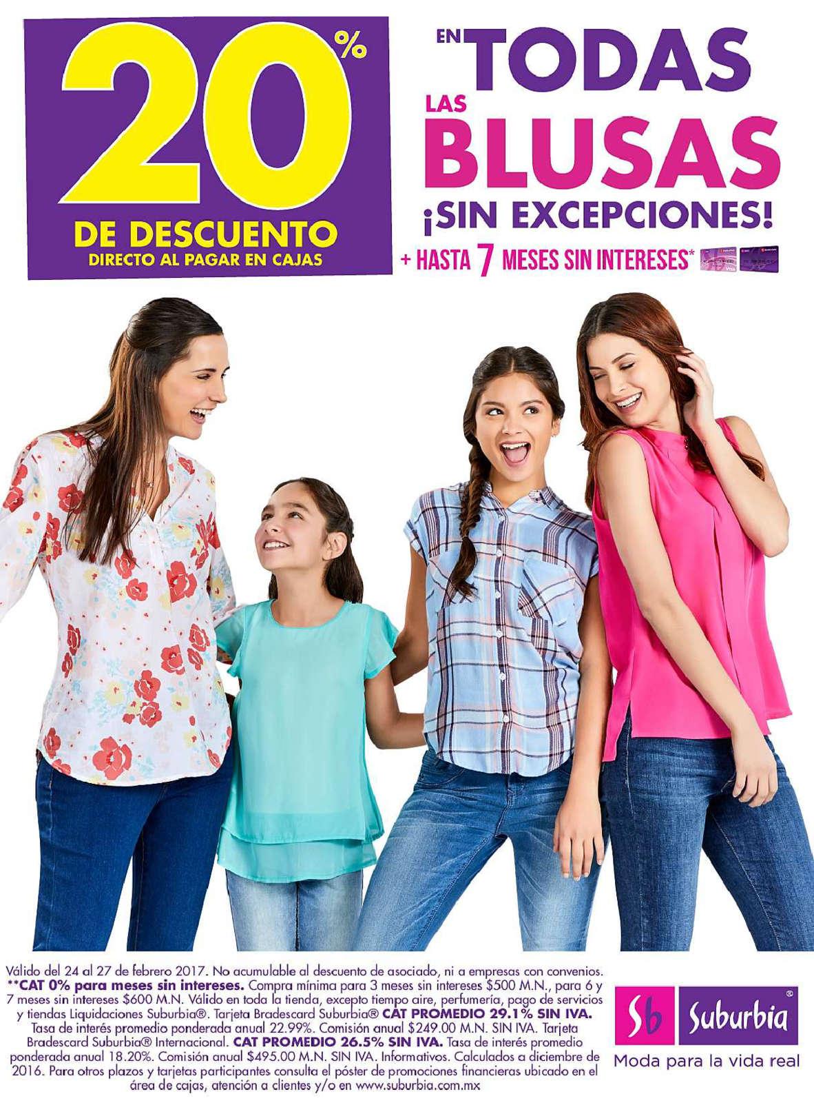 Suburbia: 20% de Descuento en todas las blusas sin excepciones + MSI