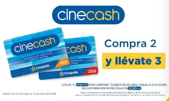 3x2 en tarjetas CineCash Cinépolis