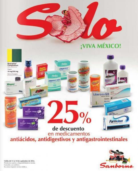 Sanborns: 25% de descuento en medicamente antiácidos, antidigestivos y más