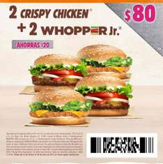 Burger King: cupón para 2 crispy chicken y 2 whopper jr por $80