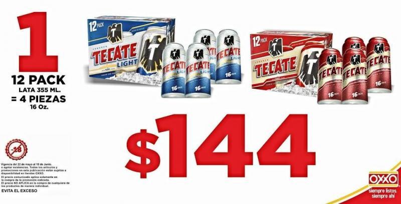 Oxxo: 4 cervezas Tecate grandes comprando un 12 pack