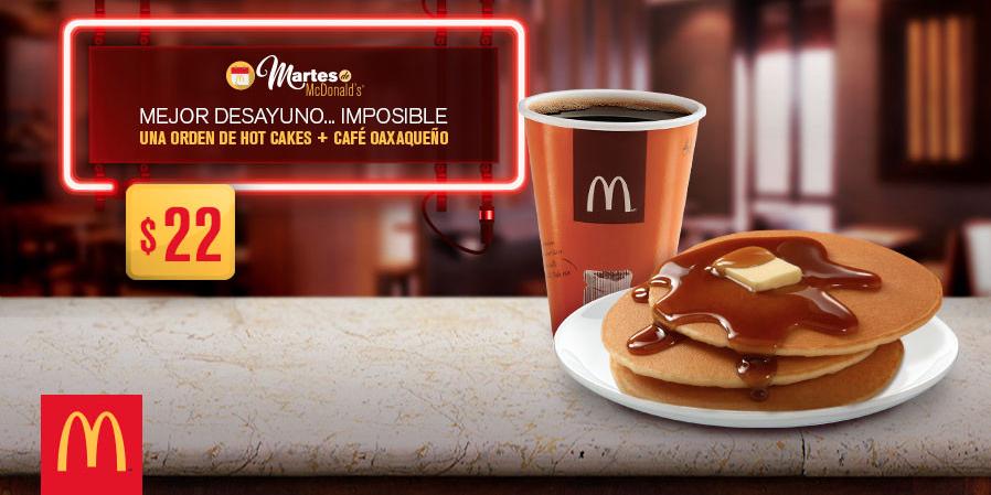 Martes de McDonald's: 3 Hot Cakes y café por $22 con cupón