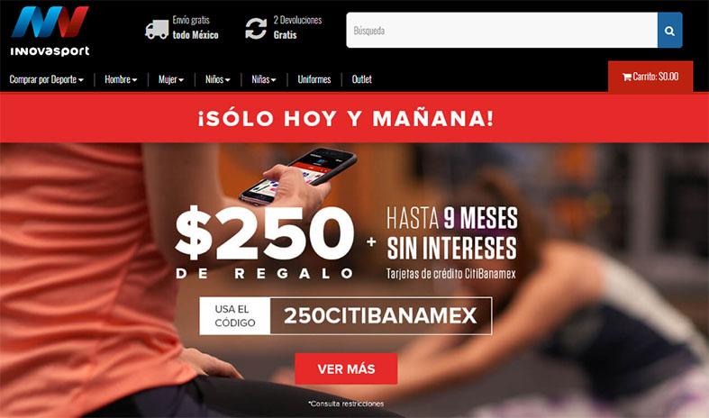 InnovaSport: Cupón por $250 en Innovasport en compras mínimas de $1,100 con CitiBanamex