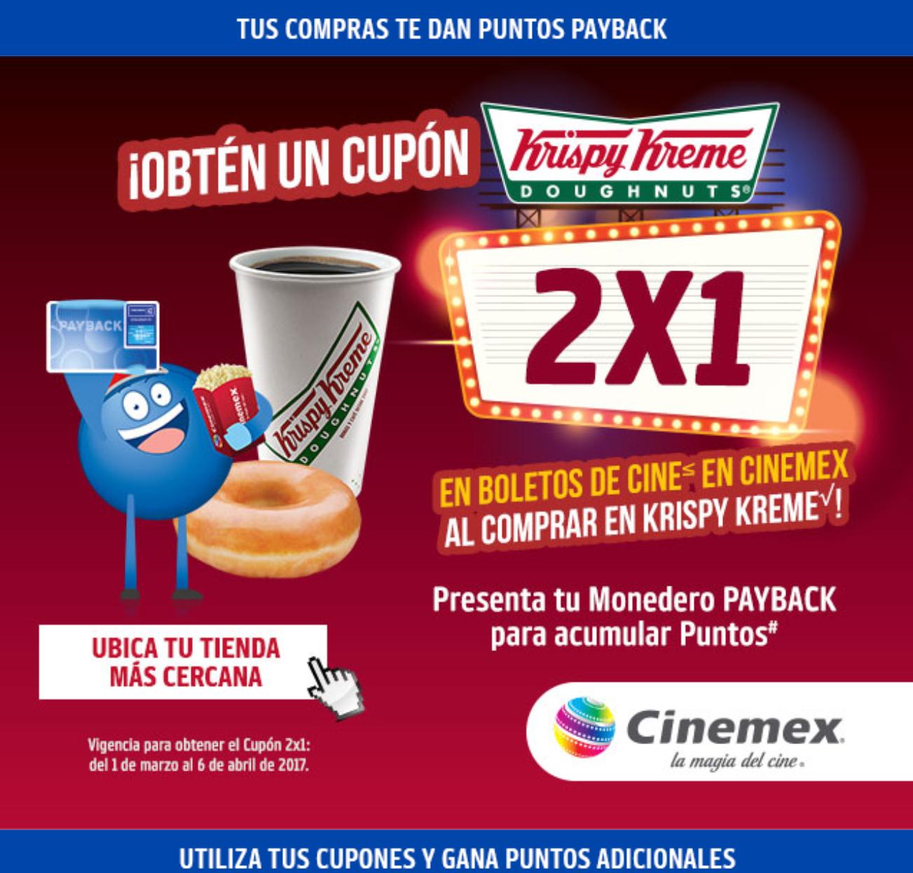Cinemex: Cupón 2x1 al comprar en Krispy Kreme