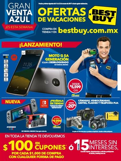 Best Buy: Folleto Ofertas Gran Venta Azul y $100 en cupones por cada $1,000 o hasta 15 MSI