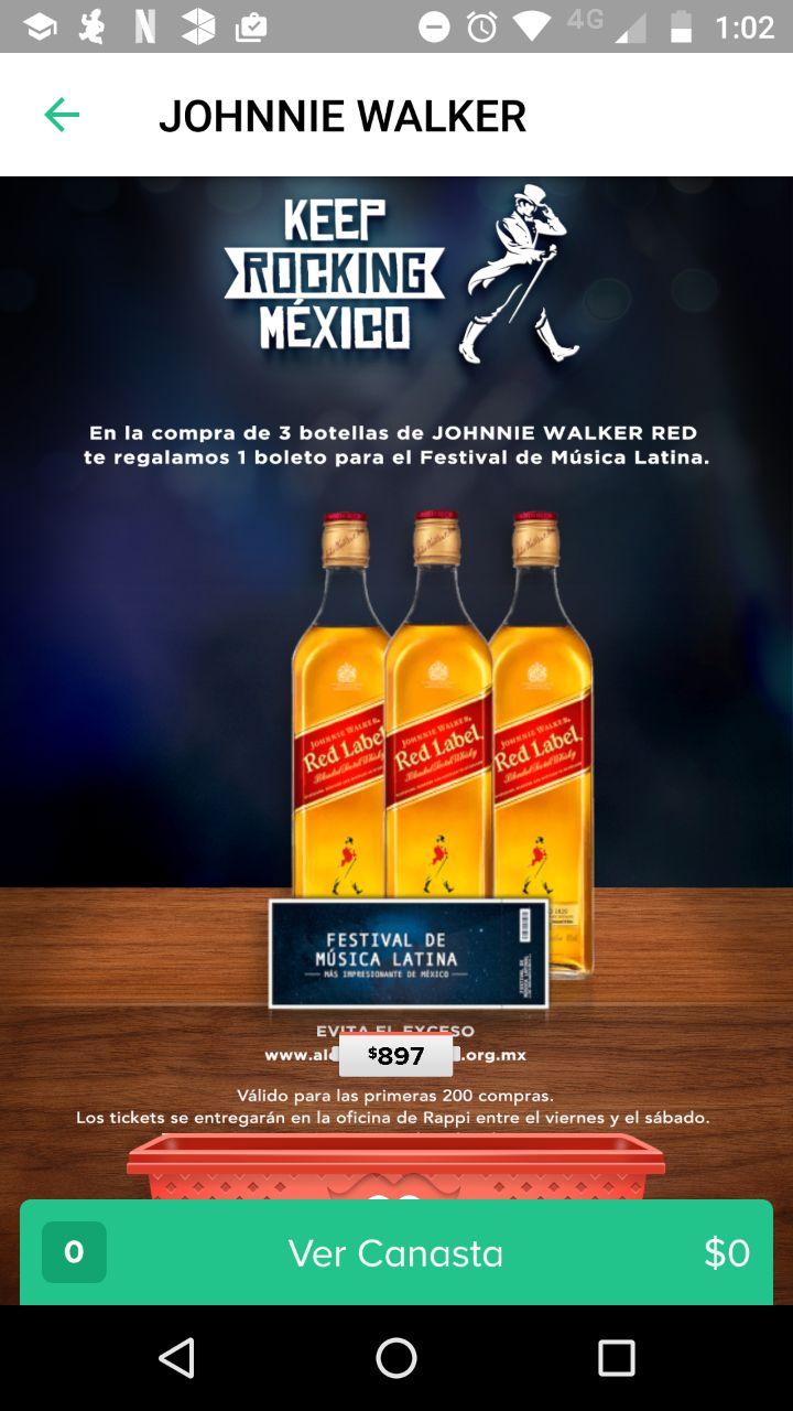 Rappi: regala boleto Vive Latino en la compra de 3 botellas Johnnie Walker Red Label