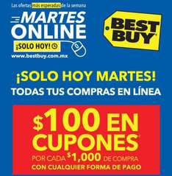 Best Buy martes online : $100 en cupones por cada $1,000 de compra