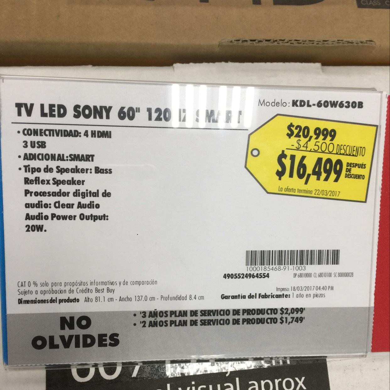 """Best Buy: pantalla Sony 60"""" smart tv KDL-60W630B"""