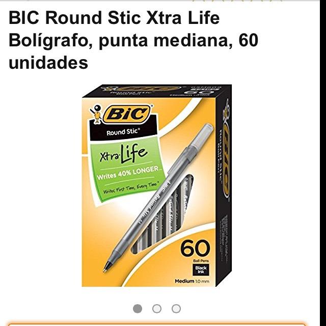 Amazon: Boligrafos Bic Round Stick Xtra Life