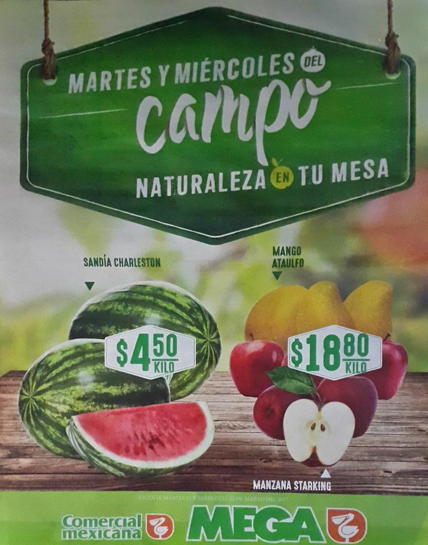 Comercial Mexicana y Mega: Martes y Miércoles de Campo 21 y 22 Marzo: Sandía Charleston $4.50 kg; Mango Ataulfo o Manzana Starking $18.80 kg.