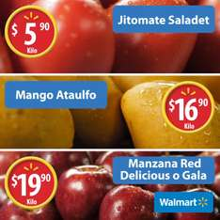 Walmart: Martes de Frescura 21 Marzo: Jitomate Saladet $5.90 kg; Mango Ataulfo $16.90 kg; Manzana Red Delicious o Gala $19.90 kg; y carnes