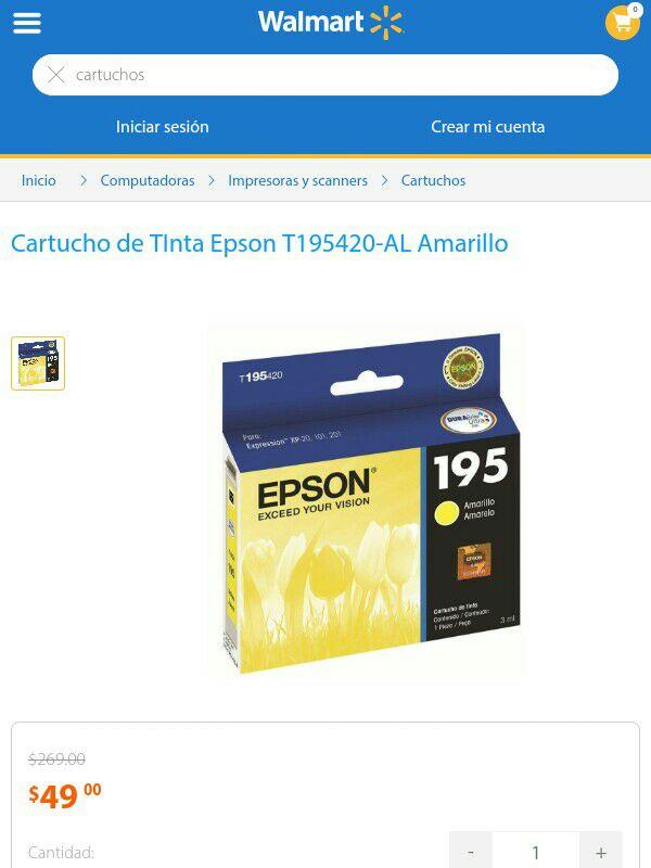 Walmart: Cartucho de tinta amarillo Epson 195 a $49
