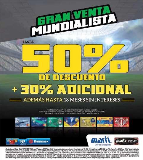 Venta mundialista Martí: hasta 50% de descuento + 30% adicional en artículos de fútbol con Banamex