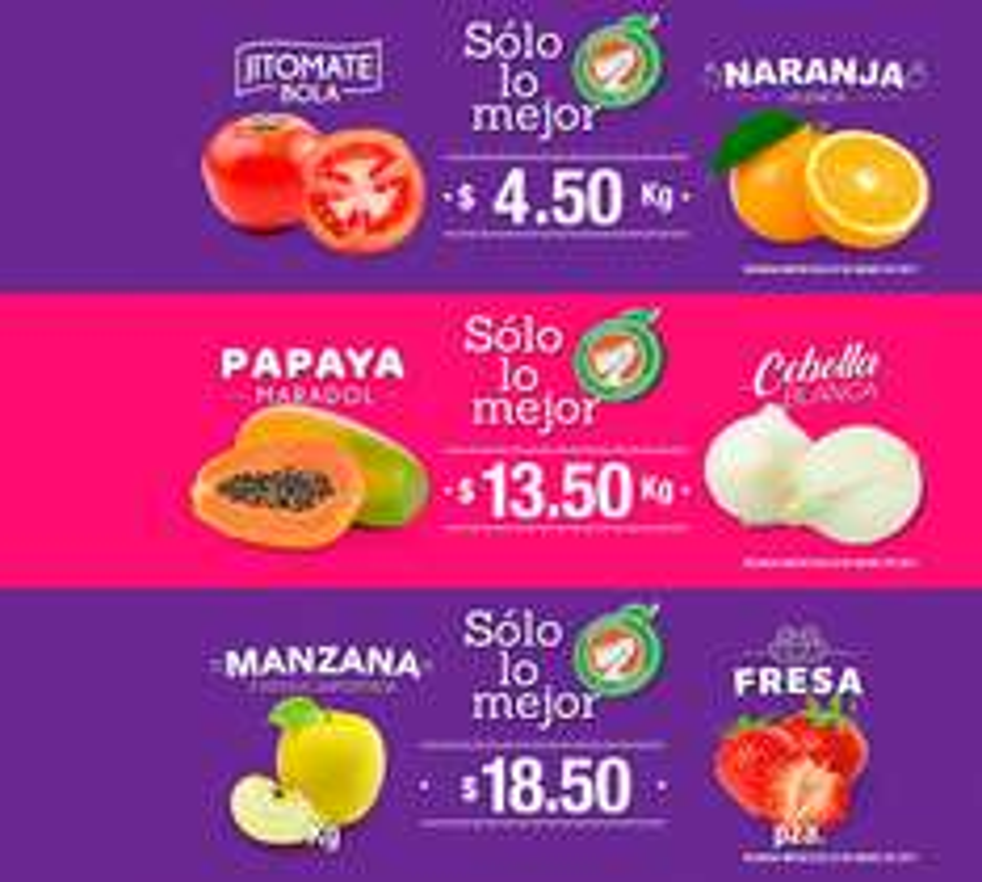 La Comer y Fresko: Miércoles de Plaza 22 Marzo: Naranja o Jitomate Bola $4.50 kg; Papaya o Cebolla $13.50 kg; Manzana Starking kg. o Fresa paq. $18.50
