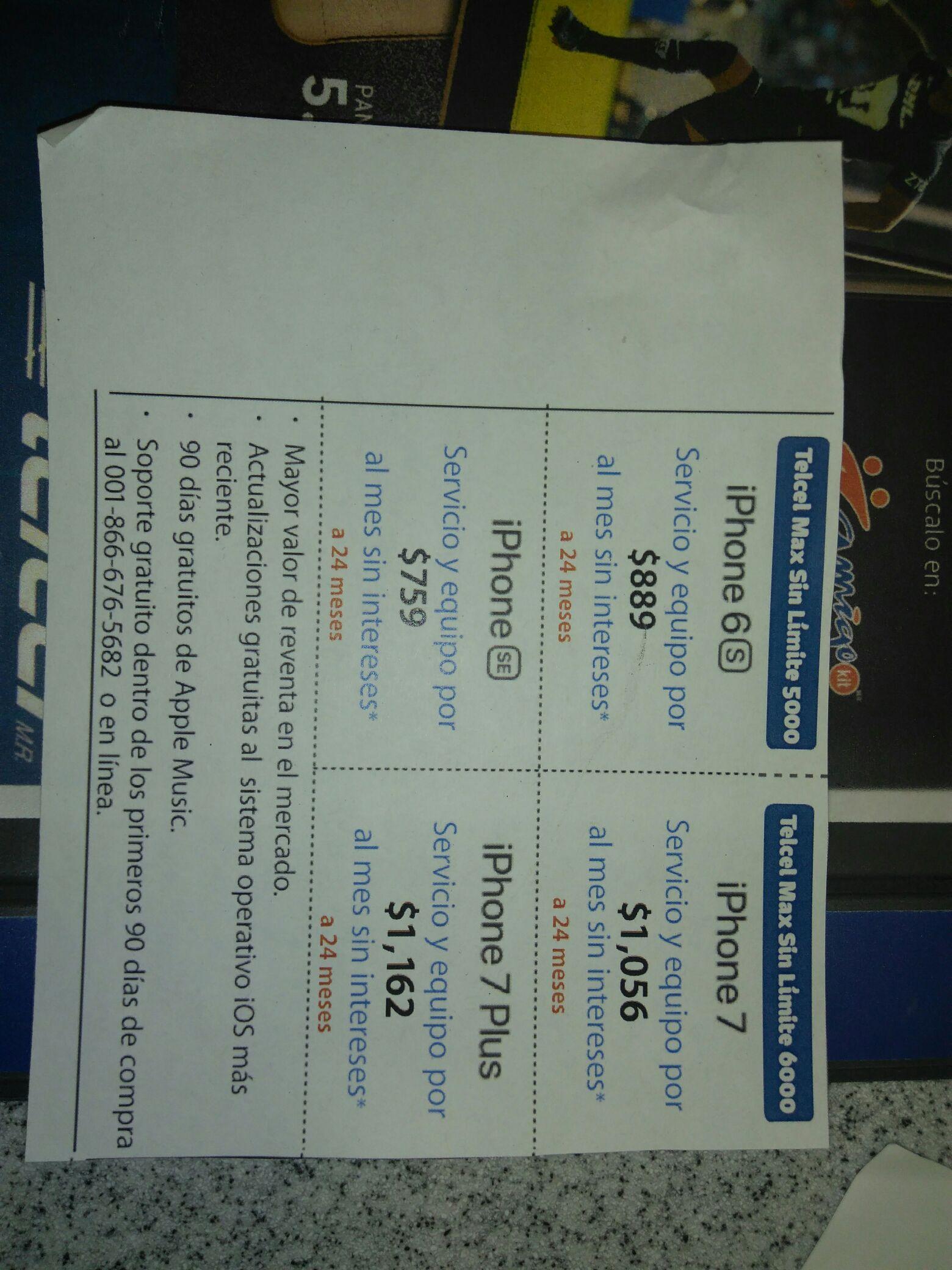 Telcel Acoxpa: iPhone 7 Plus $1,162 cargo por servicio y equipo por 24 meses