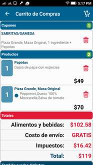 Dominos: Pizza 1 ingrediente + papotas =$119 con cupon