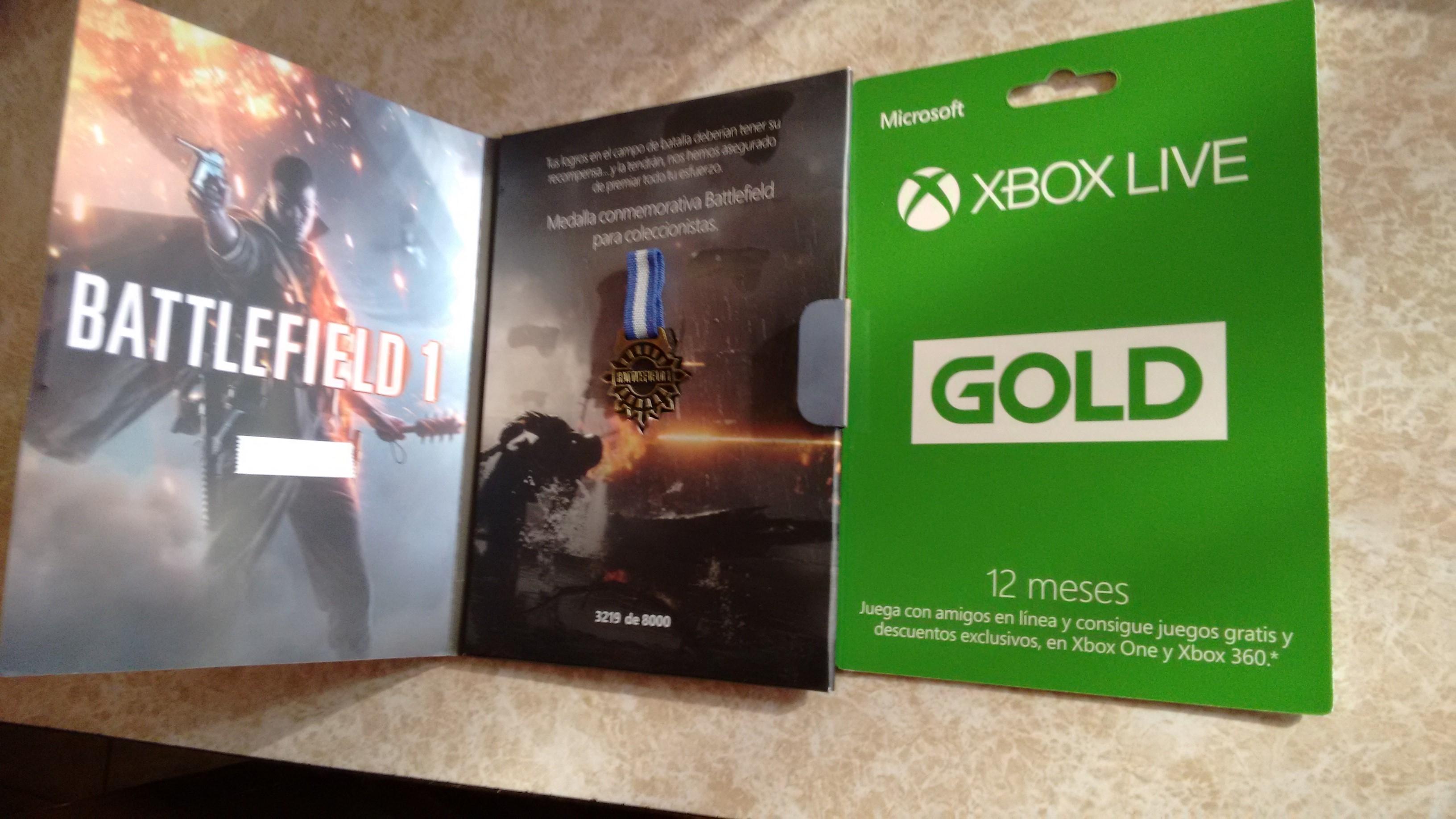Liverpool: Suscripcion Gold de Xbox Live edicion Battlefield 1, Incluye la tarjeta de 12 meses y una medalla coleccionable $ 849.15