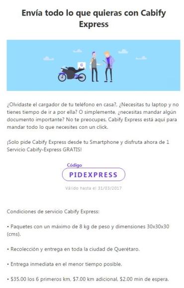 Cabify QRO: Cabify Express 1 servicio gratis