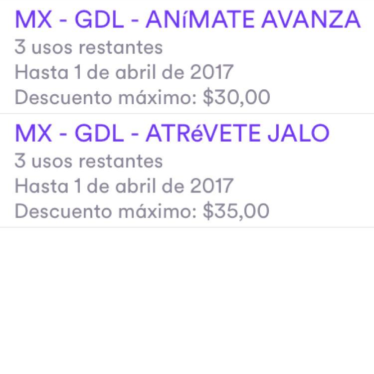 Cabify GDL: Descuento de $35 para 3 viajes